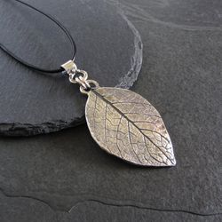 Large sterling silver leaf pendant necklace / organic pendant / nature jewelry / artisan jewelry