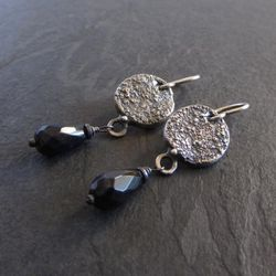 Moonscape earrings / sterling silver and black onyx dangle earrings / briolette dangle earrings / organic earrings / artisan earrings