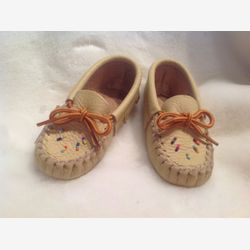 Authentic native fringed mocassins or Slippers first steps