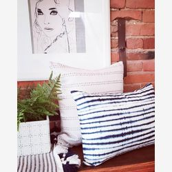 White and blue stripes pillow cover 20x20