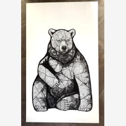 Bear With Me 3x5 ft (original work on wood panel)
