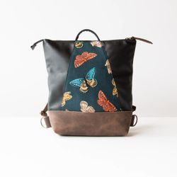 Hobart - Teal Monarch Japanese Fabric - Black & Brown Leather Backpack