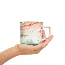 MADE TO ORDER Camping mug handpainted bleu turquoise and pink with gold porcelain art gift for her girly kitchen accessories
