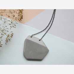 Porcelain necklace. Pendant. Mixed Gray color. With chain. Design. Contemporary look. Boho chic
