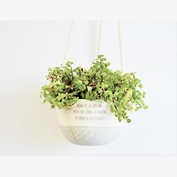 Small plant hanger turquoise and white - Ceramic hanging planter - Wanderlust quote - Succulent pot - Cactus pot - Ceramic planter