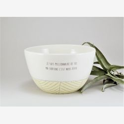 Cute ceramic bowl with sayings - handmade coffee bowl, white and yellow