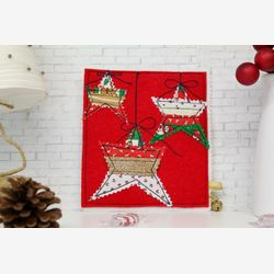 Handmade Christmas card, stitched card, , fabric card