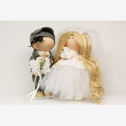 Handmade fabric doll, Tilda doll, Textile doll,Just married