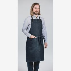 Apron for men Leather / blue jeans apron /gift for men / pockets / ajustable straps / handmade in Montreal /Made In Canada /TableWear
