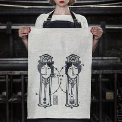 Tea Towel, Pure 100% Linen ,Kitchen Linens, Home and living , screenprint , illustration by TableWear, handmade in Montreal