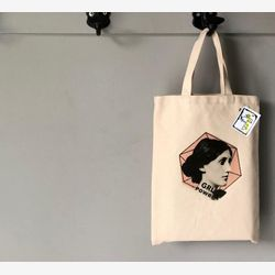 Virginia Woolf Tote bag,  Feminist tote bag,  Book bag , Gift for writer,  Cotton Small Tote bag,  Library tote bag, Montreal Handmade