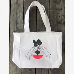 Large Market bag ,COTTON TOTE Bag  ,Reusable bag, Grocery bag  , zero waste bag screenprint bag, Tablewear by Katy Lemay
