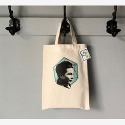 Simone de Beauvoir Tote bag,  Feminist tote bag,  Book bag , Gift for writer,  Cotton Small Tote bag,  Library tote bag, Montreal Handmade