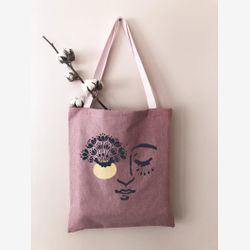 COTTON TOTE Bag Pink Strap,  Market bag , Spring time tote bag , Canvas tote bag, Bag and purse ,pink tote bag ,joyful,  handmade Montreal