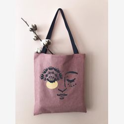 COTTON TOTE Bag , Market bag   Spring time  tote bag , Canvas tote bag, Bag and purse , happy art , pink tote bag , handmade Montreal