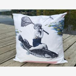 "Velvet cushion cover 18 x18 "", in velveteen , Decorative pillow, Home and living , fish rodeo , Vintage Style, Sofa Pillow, TableWear"