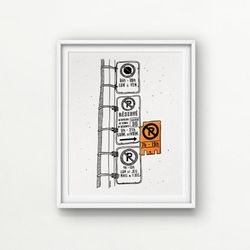 "Orange NEON Parking Hell / 8x10"" Digital + Neon paint  // Love/Hate Montreal  (no frame)"