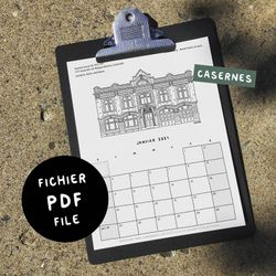 CASERNES / 2021 Calendar - Digital PDF 8.5x11 - Black&White - Get it now, Print it, Use it! - 7 Montréal theme to choose from!