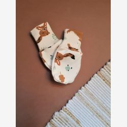 Organic baby mittens, no scratch mittens, newborn mittens, newborn gloves, cream, fox, owl, wolves, baby shower gift