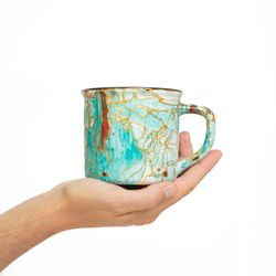 CAMPING 3009 Hand painted mint turquoise gold  bowl gift christmas latte coffee unique design porcelain art