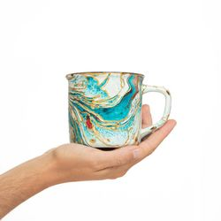 CAMPING 3002 Hand painted turquoise and gold  bowl gift christmas latte coffee unique design porcelain art