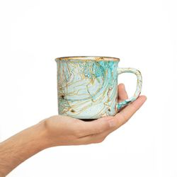 CAMPING 3019 Hand painted turquoise gold  bowl gift christmas latte coffee unique design porcelain art