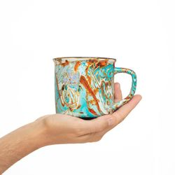 CAMPING 2990 Hand painted turquoise orange purple gold  mug gift christmas latte coffee unique design porcelain art