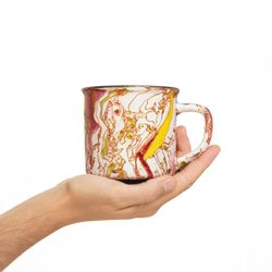 CAMPING 2996 Hand painted burgundy yellow  bowl gift christmas latte coffee unique design porcelain art