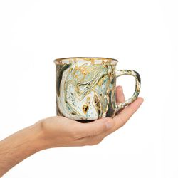CAMPING 3011 Hand painted dark green gold  bowl gift christmas latte coffee unique design porcelain art