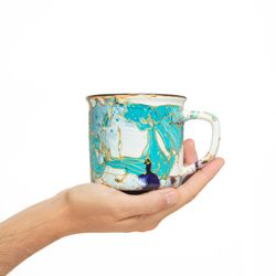 CAMPING 3020 Hand painted turquoise dark blue gold  bowl gift christmas latte coffee unique design porcelain art