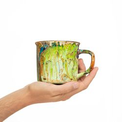 CAMPING 2987 Hand painted green orange purple bowl gift christmas latte coffee unique design porcelain art