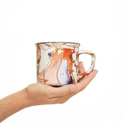CAMPING 2985 Hand painted peach purple gold  bowl gift christmas latte coffee unique design porcelain art