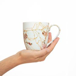 REGULAR 2973 handpainted porcelain pastel pink mug gift christmas latte coffee unique design porcelain art