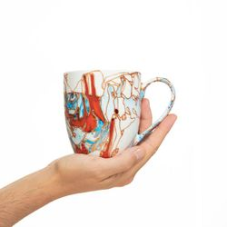 REGULAR 2956 handpainted porcelain red and bleu mug gift christmas latte coffee unique design porcelain art
