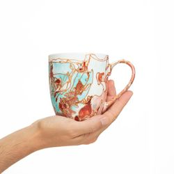 REGULAR 2961 handpainted porcelain orange peach turquoise mug gift christmas latte coffee unique design porcelain art