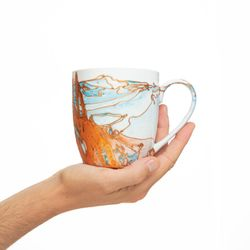 REGULAR 2945 handpainted porcelain orange  blue mug gift christmas latte coffee unique design porcelain art