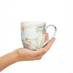 REGULAR 2979 handpainted porcelain pastel blue purple mug gift christmas latte coffee unique design porcelain art