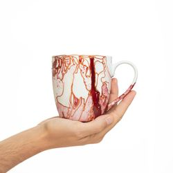 REGULAR 2980 handpainted porcelain pink red mug gift christmas latte coffee unique design porcelain art