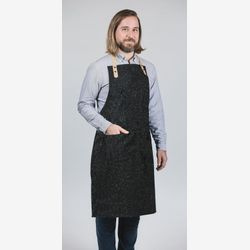 Apron with  leather for men/  wool apron /gift for men / pockets / ajustable straps/  handmade in Montreal /TableWear