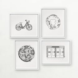 Darvee's Montreal Icons: BIXI Bike / Bagel / Poutine / Underground metro doors (each design sold INDIVIDUALLY, no frame)