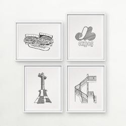Darvee's Montreal Icons: Smoked Meat Sandwich / Expos / Mount-Royal Cross / Plex Stairs (each design sold INDIVIDUALLY, no frame)