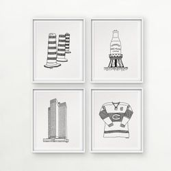 Darvee's MTL icons: Road Barrels / Water Tower Pure Milk / Place Ville Marie / Canadien Hockey (each design sold INDIVIDUALLY, no frame)