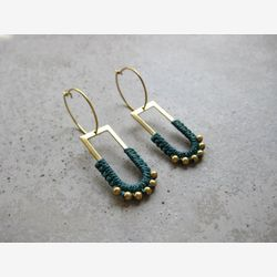 Dangle Brass Hoop Earrings w/ Green Fiber Detail . Charm Hoops . Gold Beaded Earrings . Modern Macrame . Textile Jewellery . Light Earrings