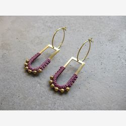 Brass Hoop Earrings w/ Dangling Charm . Charm Hoops . Gold Beaded Earrings . Modern Macrame . Fiber Textile Jewellery . Light Earrings