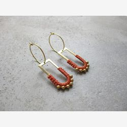 Dangle Brass Hoop Earrings w/ Charm . Charm Hoops . Terracotta Burnt Orange . Gold Beaded Earrings . Modern Macrame . Fiber Textile Jewelry