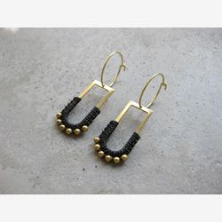 Hoop Earrings with Charm . Brass Hoops . Beaded Earrings . Fiber Modern Macrame Jewelry . Textile Jewellery . Gold Black . Light Earrings