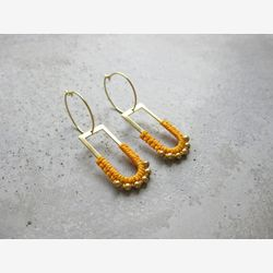 Dangle Brass Hoop Earrings w/ Charm . Charm Hoops . Mustard Yellow Gold Beaded Earrings . Modern Macrame . Fiber Textile Jewelry