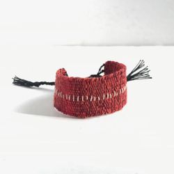 Red marl handwoven linen cotton bracelet / textile bracelet / cuff bracelet / loom woven bracelet / fiber jewelry /  red black silver