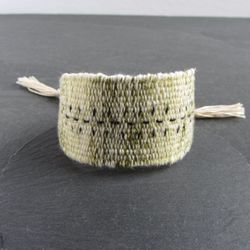 Olive green marl handwoven linen cotton bracelet / textile bracelet / cuff bracelet / woven bracelet / fiber jewelry /  green ecru silver