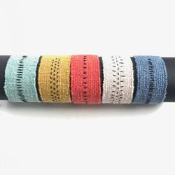 Handwoven cuff bracelet in linen and cotton / woven bracelet / wide bracelet / textile jewelry / turquoise / marigold / coral / denim